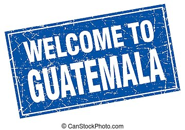 Guatemala blue square grunge welcome to stamp