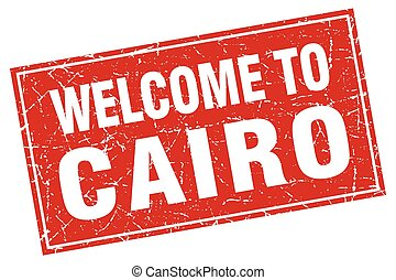 Cairo red square grunge welcome to stamp