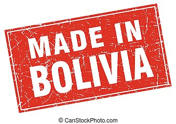 Bolivia red square grunge made in stamp
