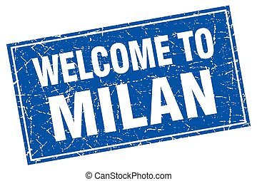 Milan blue square grunge welcome to stamp