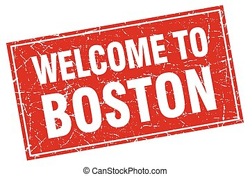 Boston red square grunge welcome to stamp