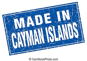 Cayman Islands blue square grunge made in stamp