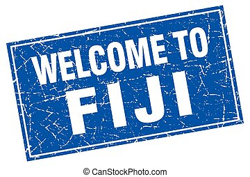 Fiji blue square grunge welcome to stamp
