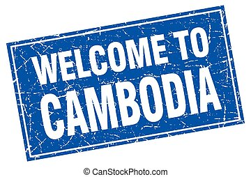 Cambodia blue square grunge welcome to stamp
