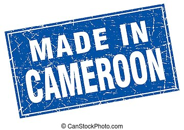 Cameroon blue square grunge made in stamp