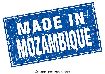 Mozambique blue square grunge made in stamp