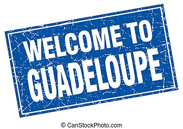 Guadeloupe blue square grunge welcome to stamp