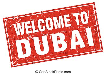 Dubai red square grunge welcome to stamp