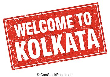 Kolkata red square grunge welcome to stamp