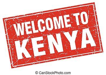 Kenya red square grunge welcome to stamp