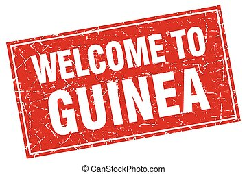 Guinea red square grunge welcome to stamp