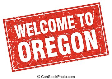 Oregon red square grunge welcome to stamp
