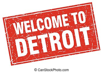 Detroit red square grunge welcome to stamp