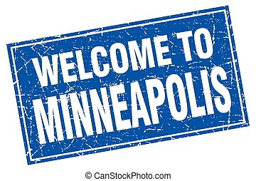 Minneapolis blue square grunge welcome to stamp