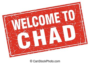 Chad red square grunge welcome to stamp