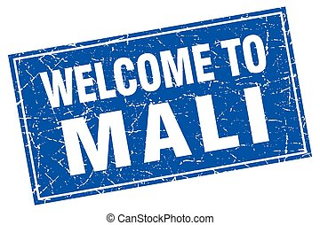 Mali blue square grunge welcome to stamp