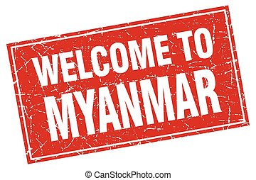 Myanmar red square grunge welcome to stamp
