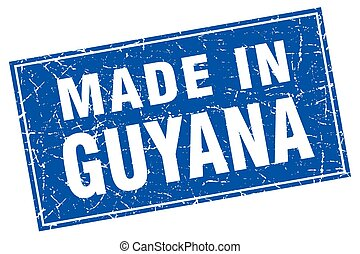 Guyana blue square grunge made in stamp