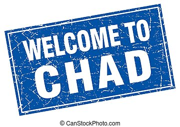 Chad blue square grunge welcome to stamp