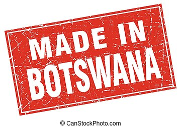 Botswana red square grunge made in stamp