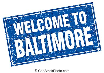 Baltimore blue square grunge welcome to stamp