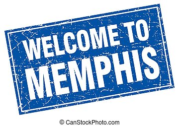 Memphis blue square grunge welcome to stamp