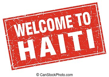 Haiti red square grunge welcome to stamp