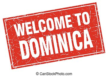 Dominica red square grunge welcome to stamp