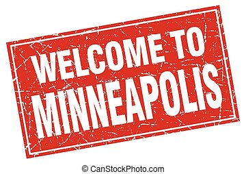 Minneapolis red square grunge welcome to stamp