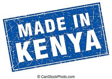 Kenya blue square grunge made in stamp