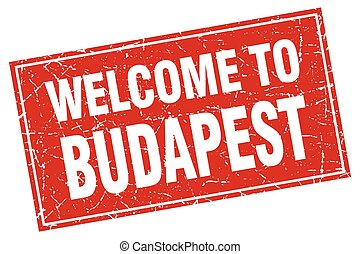 Budapest red square grunge welcome to stamp