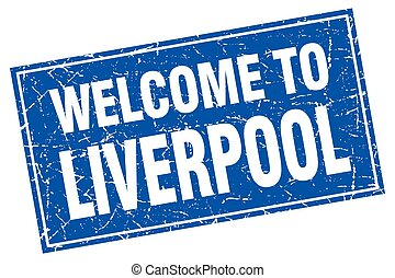 Liverpool blue square grunge welcome to stamp