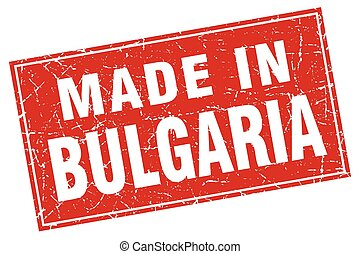 Bulgaria red square grunge made in stamp