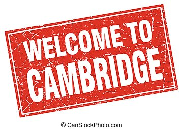 Cambridge red square grunge welcome to stamp