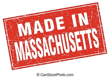 Massachusetts red square grunge made in stamp