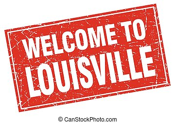 Louisville red square grunge welcome to stamp