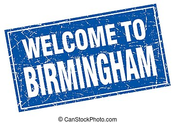 Birmingham blue square grunge welcome to stamp