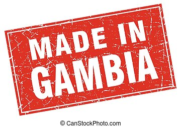 Gambia red square grunge made in stamp