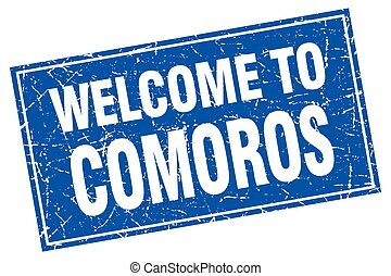 Comoros blue square grunge welcome to stamp
