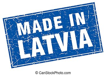 Latvia blue square grunge made in stamp