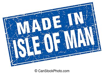 Isle Of Man blue square grunge made in stamp