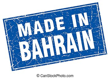 Bahrain blue square grunge made in stamp