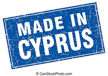 Cyprus blue square grunge made in stamp