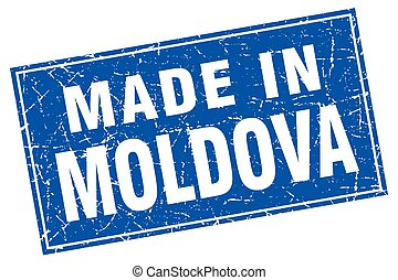 Moldova blue square grunge made in stamp