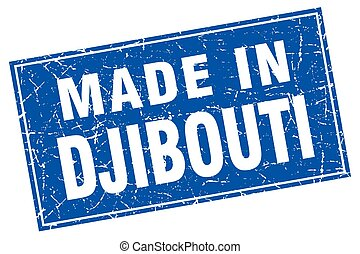 Djibouti blue square grunge made in stamp