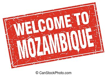 Mozambique red square grunge welcome to stamp