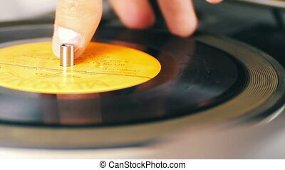 Twist Old Vinyl Record - Macro shot of old vinyl recording...