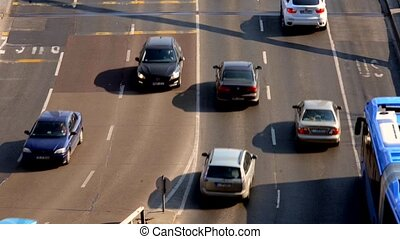 Traffic on the road - Closeup footage of some traffic on the...