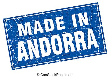 Andorra blue square grunge made in stamp