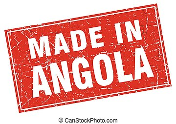Angola red square grunge made in stamp